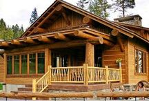 Log Cabins, indoors and outside