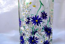 Painted, decorated bottles, glass