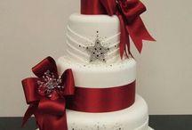 Christmas cake and decor