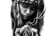 tattoos ❤️♌️☪️☮️