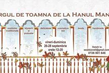 Targul de toamna de la Hanul Manuc / La Hanul Manuc, Intre 26 si 28 septembrie, de la ora 12 la 20,  vor fi mii de obiecte lucrate cu imaginatie, cu pricepere si cu mult suflet pentru voi: rochii pentru doamne si fetite, posete, bijuterii si podoabe, obiecte decorative handmade, cosmetice bio, papioane si cravate, bretele si butoni, palarii, jucarii, dulciuri rafinate, vinuri fine, tricouri, esarfe, ii, picturi...toate aduse de producatori si artisti romani veniti din toate colturile tarii.