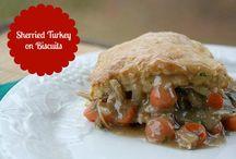 Sherried Turkey on Biscuits
