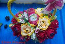 Мои роботы!СвитДизайн.. / букеты из конфет.Цветы из гофробумаги внутри с конфетками..