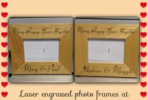 Personalised frames with a hearty font / Laser engraved photo frames