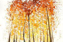 watercolour autumn trees watercolor paintinga