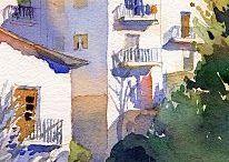 Paintings of buildings, Windows and doors