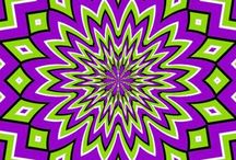 Optical art / Op art works are abstract, with many of the better known pieces made in black and white. When the viewer looks at them, the impression is given of movement, hidden images, flashing and vibration, patterns, or alternatively, of swelling or warping.