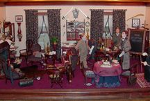 """Miniature room vignettes / Room vignettes, usually 1"""" to 1' scale, in collection of Museum of Miniature Houses, Carmel, Indiana"""