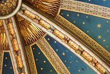 Famous ceiling paintings / Ceiling decoration, various painted elements of ceiling,