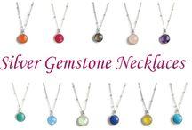 Gemstone Necklaces  / Each genuine semi-precious stone is individually hand cut, bezeled setting. 18 inch  satelite chain. Semi precious stone measures 11mm x11mm