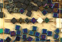 Rhombus Silky 2 Hole Czech Glass Beads