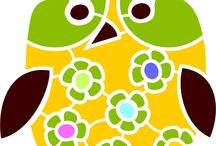 Owls / Owl stencils and design elements for interior decorating