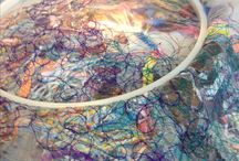 Machine crazy embroidery using scrap fabric between Juliet dissolvable fabric