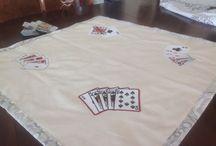 Tapis de jeu de cartes / Tapis pour jouer aux cartes brodé doublé