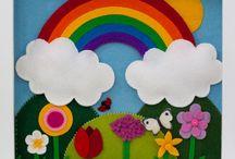 Nursery art / Handmade felt pictures in box frame