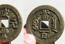 Qing Dynasty:  Rare and Unique Cash Coins / This board features some unique and rarer Chinese cash coins cast during the Qing Dynasty (1644-1911 AD).   Included, are large cash coins (大钱), and coins with errors made during the casting process. / by Danny