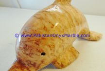 ONYX DOLPHINS FISH MULTI BROWN ONYX HANDCARVED STATUE SCULPTURE