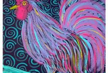 Rooster Yumminess / I love roosters.  They decorate my house.  It all started from my grandmother who gave me her huge turkey platter, which is a Metlox Poppy Trail in green.  I cherish it! / by Lin Larson