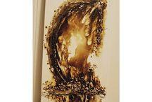 My art, coffeepainting / Lerretsbilder malt med kaffe, blekk og acryl, sparkel, rustne spiker og hva jeg måtte komme over