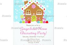 Gingerbread House Decorating Party Pink / This collection features a sweet Christmas Winter Gingerbread house with candy canes and gumdrops. In the background is a bright  blue sky with falling snowflakes. Perfect for Gingerbread Decorating Parties or Christmas Open House. The colours consist of pink, green, red and blue.