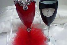 Esküvői pohár és pezsgős üveg szett