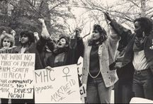 When We Took a Stand / Mount Holyoke students have been known to fight for what they believe in. This board shows the peaceful protests, demonstrations and movements at different periods when Mount Holyoke students decided to take a stand.
