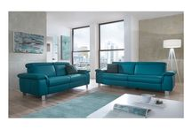 Modern Genuine-Leather Blue Sofa Collection