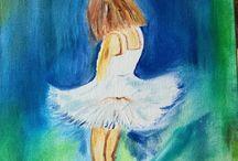 Olieverf / Mijn eerste werkje met olieverf  Ballerina