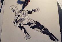Heroes draws / Dessins de héros marvel et de d'autres séries comics...