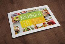 Design-Vorlagen für Rezept- und Kochbücher / Stille deinen Design-Hunger mit mundwässernden Vorlagen für Bücher, in denen deine Rezepte zum munteren Löffelschwingen, Salatkombinieren und Pfannenbrutzeln einladen!