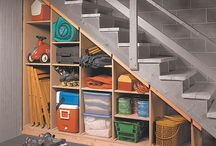 Storage under basement stairs