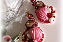 Earrings pink silk / https://www.facebook.com/pages/Roxies-Creations/1425843984294757