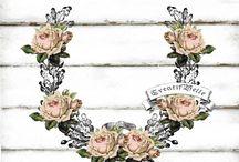 flower border / vector  decoupage / transfer