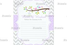 Cute Spring Birds on Gray Chevrons / This design features cute Spring birds perched on a branch with flowers. The background consists of gray chevrons and a purple polka dot ribbon.