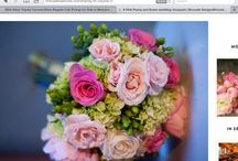 S & T Wedding  / Pink, green and white ceremony and recepetion flowers