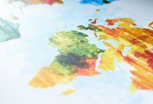 Trendy wereldkaarten