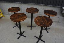 Restaurant Furniture / Custom Reclaimed Barn Wood & Live Edge Restaurant & Cafe Furniture. Custom Metal Bases.