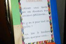 Candy Bar Colors Flash & Geometric / Candy Bar Géometric, colors yellow, orange, blue, green, pink Candy avec formes géometriques, losange, carré, triangle. Couleurs bleu, rose Fuschia, orange, vert d'eau et jaune.