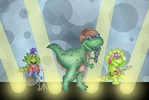 """Rock & Roll Dinosaur / Crafts and activities about dinosaurs, also featuring some fun music crafts. Inspired by our book, """"A Rock in the Park""""!"""
