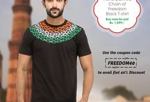 """Indepenence Day Offer / Are you a proud Indian, then show it to the world. Wear this Hand-painted T-shirt not only on this Independence Day or Republic Day but any day of the year and feel proud. Be a part of Make in India revolution. Hand-painted by artisans of rural India, this collection is a tribute to our glorious freedom fighters. Use the coupon code """"FREEDOM40"""" to avail 40% discount."""