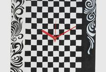 Hand painted Canvas CLock / Our new range of Black and whit canvas clock to style up your interior that can be monochromatic or to balance out those colorful vibrant walls.