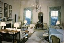 "Jackie Kennedy's White House Bedroom Suite / Jackie's private White House bedroom/dressing suite 1961-63. Originally decorated by Sister Parish. The President had a bedroom next door, but often joined Jackie in her room. Jackie was working with Boudin in 1963 to redecorate the room. The dressing area was in pale blues. Painters had to repaint the bedroom several times before Jackie was happy with the shade of ""cream."" NO more Mamie pink. All rights reserved to appropriate copyright holders. www.pinkpillbox.com."