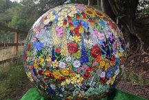 """Florescence"" 120cm diameter stained glass mosaic ball by Sue Smith Glass"