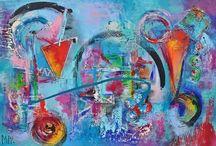 Abstracte acrylschilderijen / Veelzijdig kunstenares Mir / Mirthe Kolkman schildert abstracte kleurrijke schilderijen waarin de vrije fantasie de ruimte vind op het doek . Vanuit passie en emotie geschilderd kunstwerk .
