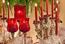 dekoracje stołu i okna bożonarodzeniowe