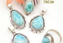 Larimar Jewelry / Larimar (Jewel of the Carribean) is a very attractive mineral with an absolutely one-of-a-kind color you can totally immerse yourself in available at Four Corners USA OnLine Native American Navajo Silver Jewelry Store / by Four Corners USA OnLine