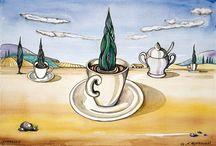 Zypresso / Surrealistisch anmutendes Aquarell, 34 cm x 44 cm