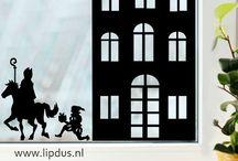 Raamstickers Sinterklaas / Allemaal statisch hechtende raamstickers. makkelijk te plakken en herbruikbaar