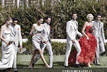 Combineren met kleur ( grijs en rood) / Als het bruidspaar in kleur is, dan is het mooi om de bruidskinderen in dezelfde kleuren aan te passen. De bruidskinderen zijn een mooie aanvulling van het bruidspaar.