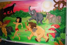 Wandschilderingen Jungle Book / Muurschilderingen van Jungle Book in kinderkamers